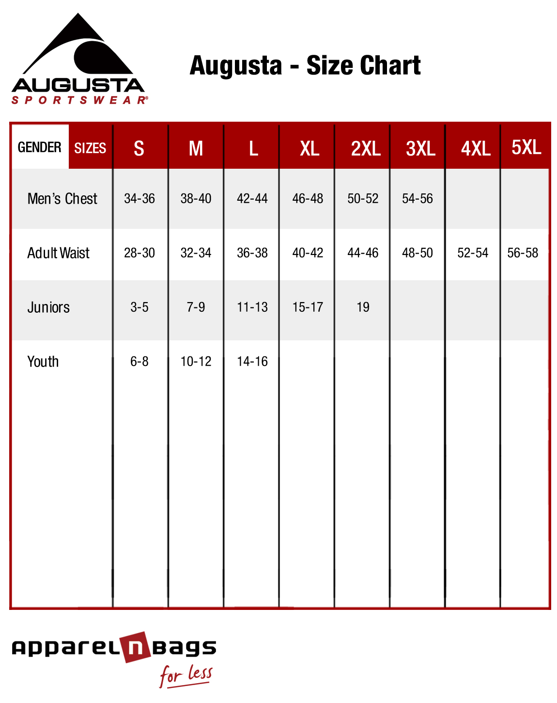 Augusta Clothing Size Chart