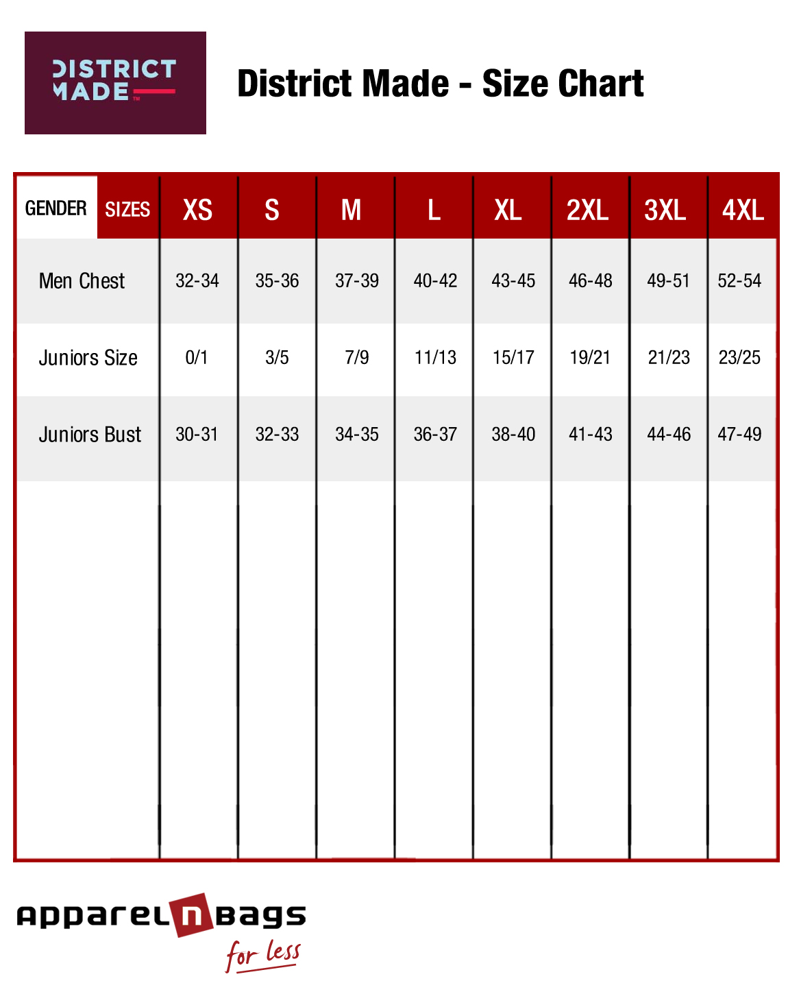 District Made Size Chart Men Juniors Sizing
