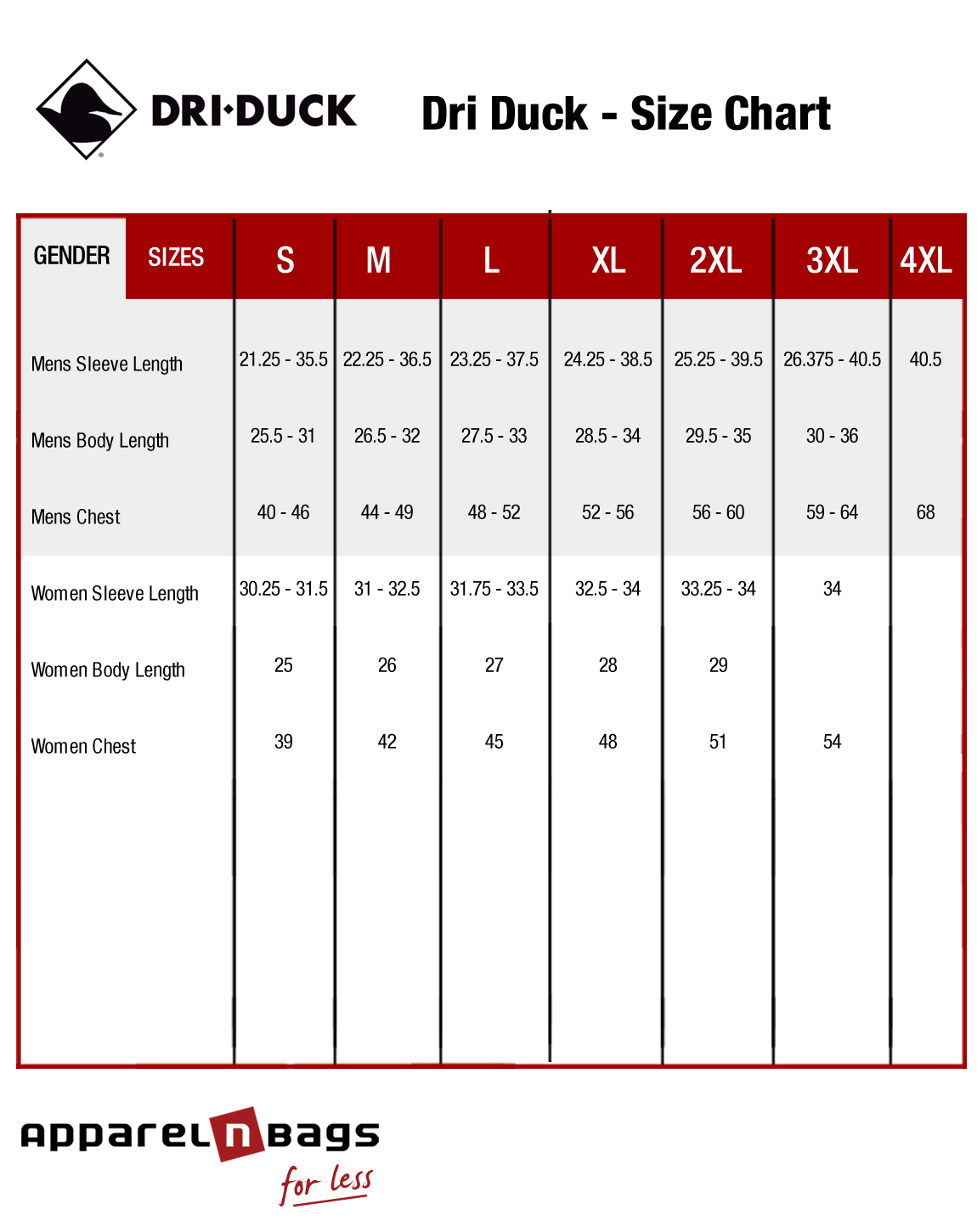 Dri Duck Apparel Sizing Chart Information And Fit Guide