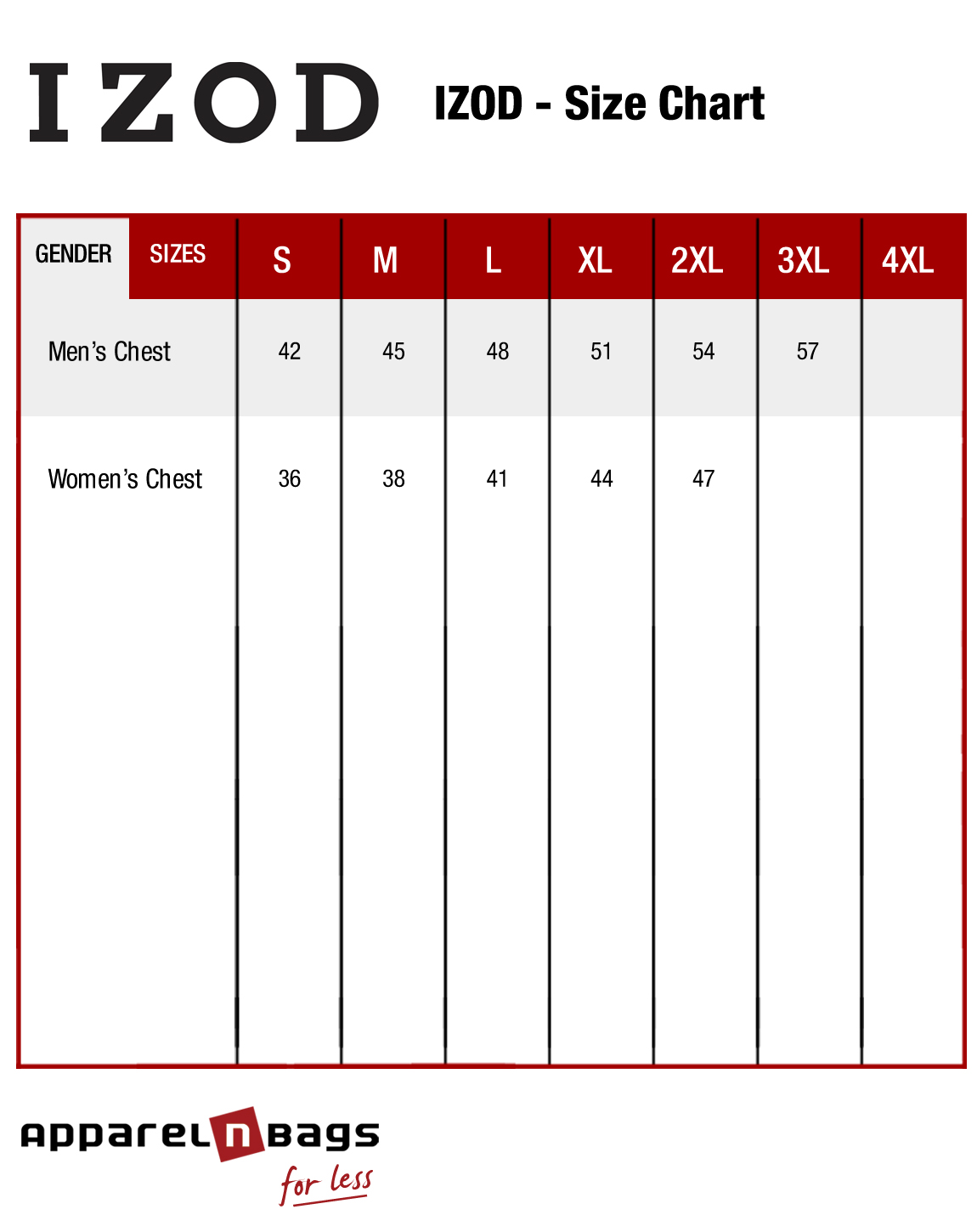 Izod fit guide and clothing size chart at for Izod shirt size chart